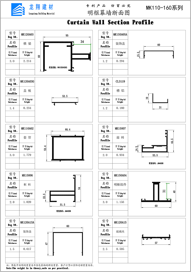 Curtain Wall Section Profile-2